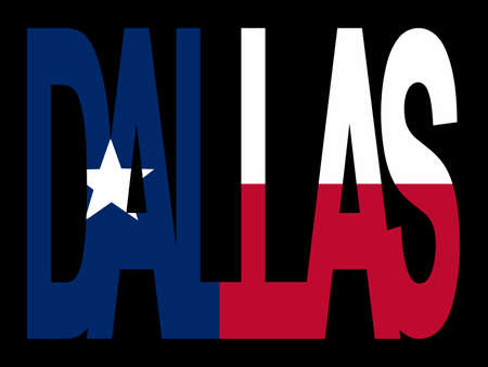 texan: Overlapping Dallas text with Texan flag illustration