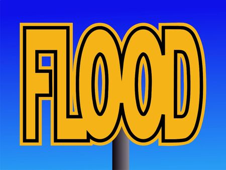 overlapping Flood text warning sign on blue