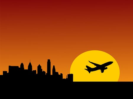 plane taking off at sunrise and Philadelphia skyline illustration illustration