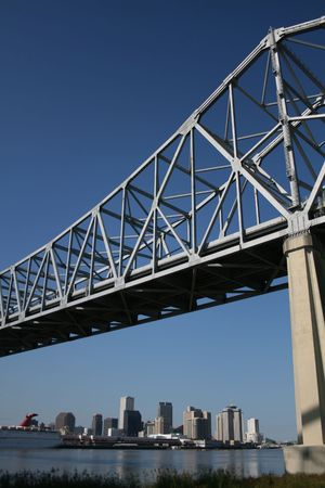 crescent city connection bridge with New Orleans skyline Stock Photo - 2481994