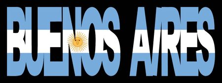 aires: overlapping Buenos Aires text with Argentina flag illustration