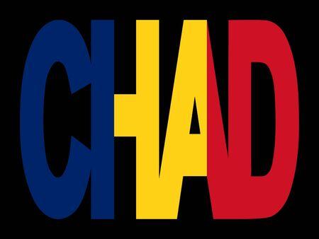 Chad superposición de texto con la ilustración de su pabellón  Foto de archivo - 2481996