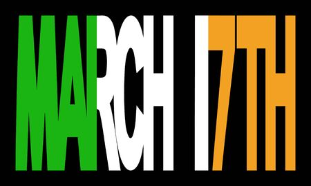 17th: Overlapping March 17th text with Irish flag illustration