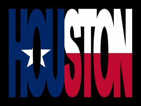 texan: Overlapping Houston text with Texan flag illustration