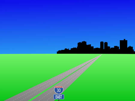 deserted highway leading to Fort Worth skyline   photo