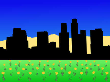 Los Angeles skyline in spring with daffodils illustration illustration