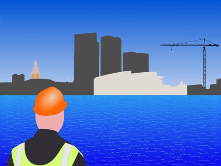 Bayside Miami construction site with worker and crane