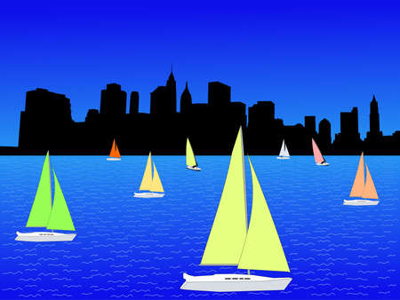 Lower Manhattan and yachts with colorful sails illustration Banco de Imagens