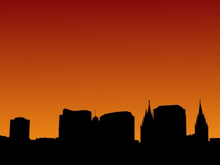 salt lake city: Salt Lake city skyline at sunset with beautiful sky illustration