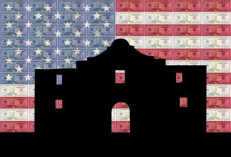 greenbacks: Alamo San Antonio with American flag and fifty dollar bills