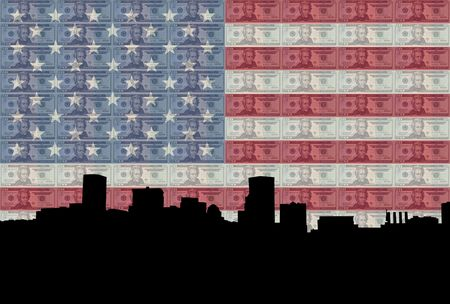 Baltimore Inner Harbor with American flag and twenty dollar bills photo