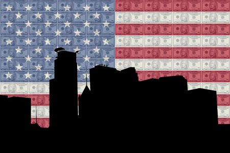 greenbacks: Minneapolis skyline with American flag and ten dollar bills