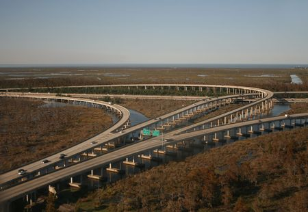 bayou swamp: Aerial view of interstate 10 junction near New orleans