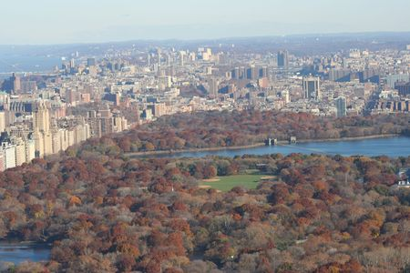 Aerial view of Central Park in autumn photo