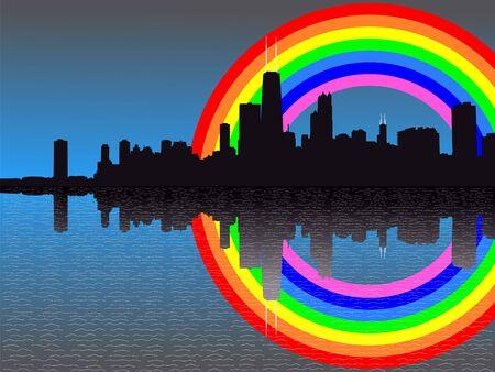 Chicago skyline reflected with colourful rainbow illustration Stock Photo