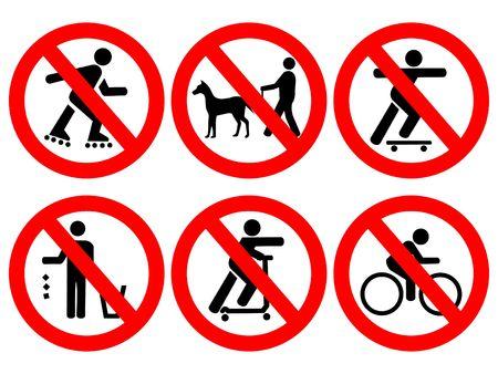 regel: Park regels geen fietsen, skaten, bezaaid, Schaats planken  Stockfoto
