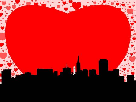 transamerica: San Francisco skyline with valentines hearts illustration Stock Photo