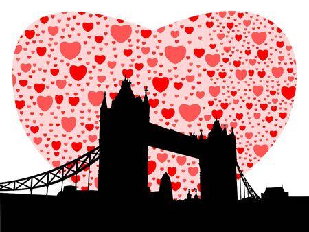 gherkin building: Tower Bridge London with valentines hearts illustration
