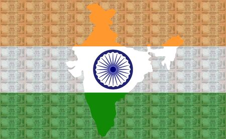 Map of India with 100 rupees notes and Indian flag photo