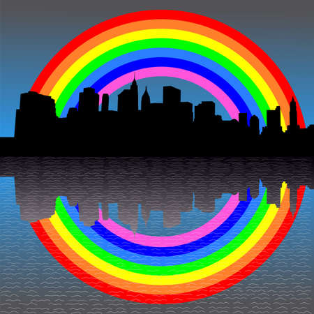 refracted: Lower Manhattan skyline with colourful rainbow illustration