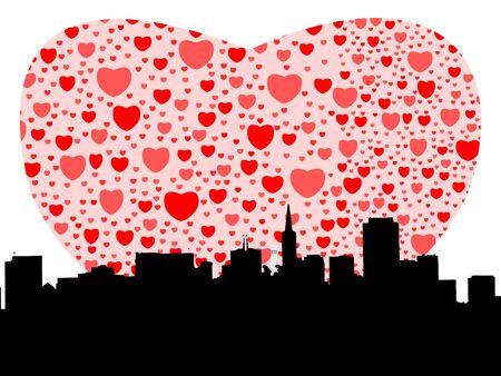 San Francisco skyline with valentines hearts illustration Stock Photo