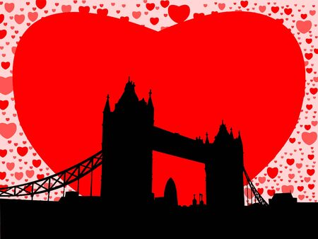gherkin building: Tower Bridge London with valentines hearts illustration