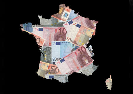 Map of France with collage of colourful euro notes illustration illustration