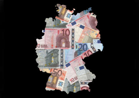 Map of Germany with collage of colourful euro notes illustration illustration