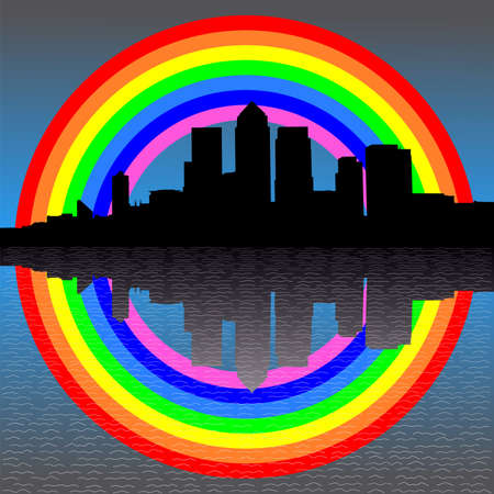 canary wharf: London Docklands skyline with colourful rainbow illustration