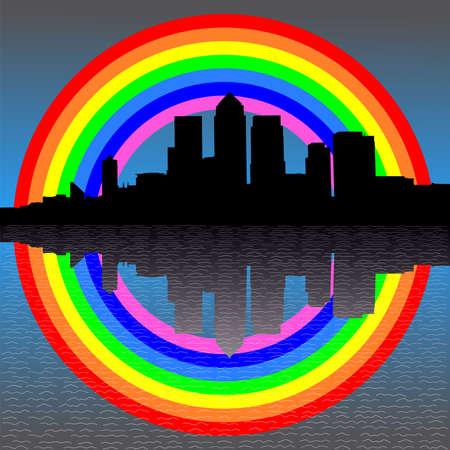 London Docklands skyline with colourful rainbow illustration