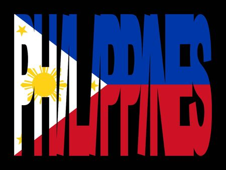filipino: overlapping Philippines text with their flag illustration