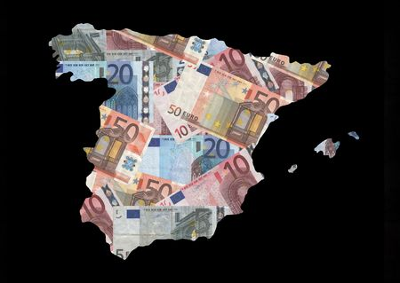 Map of Spain with collage of colourful euro notes illustration Stock Illustration - 2503958