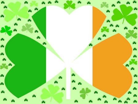 St Patricks day shamrocks with Irish flag Stock Photo - 2503956
