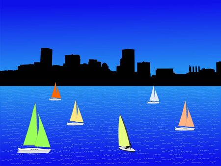 Baltimore Inner Harbor and yachts with colorful sails illustration Banco de Imagens
