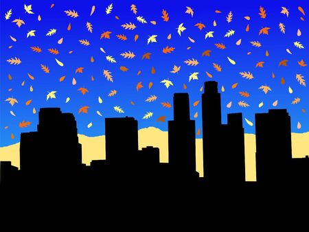 angeles: Los Angeles skyline in autumn with falling leaves illustration