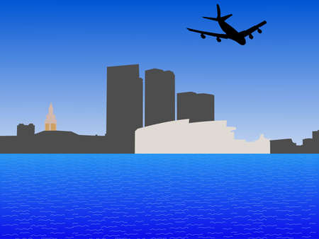 four engine plane flying over Bayside Miami skyline