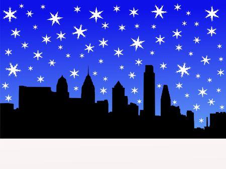 Philadelphia skyline in winter with falling snow illustration Stock Illustration - 2503972