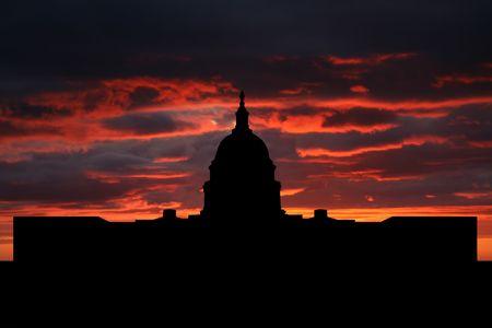 dc: US capitol Washington DC edificio al tramonto illustrazione  Archivio Fotografico