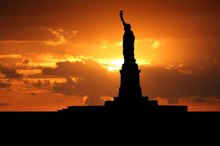 Statue of Liberty New York City at sunset illustration Stock Photo