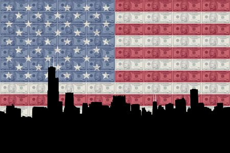 the sears tower: Chicago Skyline with American flag and ten dollars bills