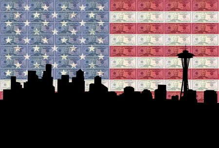 Seattle skyline with American flag and fifty dollars bills photo