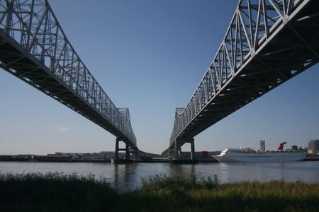 bridges in New Orleans with cruise ship photo