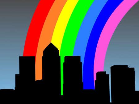 London Docklands Skyline with colourful rainbow illustration Stock Photo