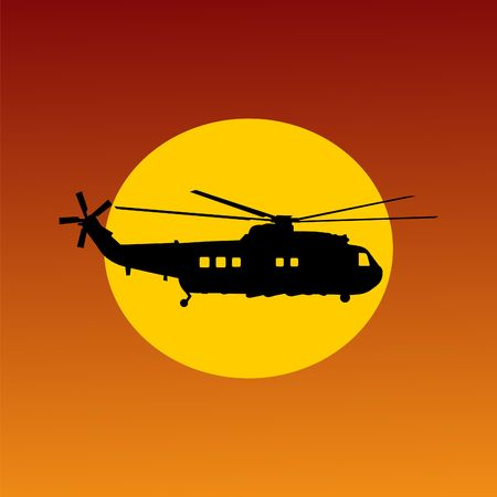 coastguard: silhouette of helicopter passing sun at sunset illustration