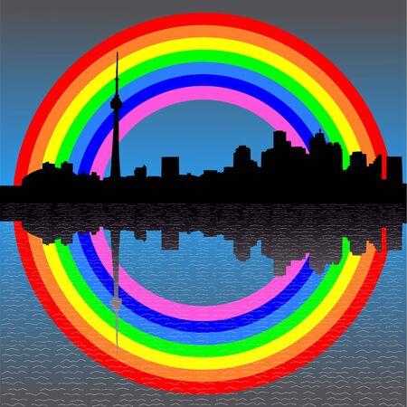 toronto: Toronto skyline with colourful rainbow illustration Stock Photo