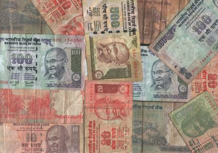 Assorted Indian currency collage with rupee notes Stock Photo - 2532730