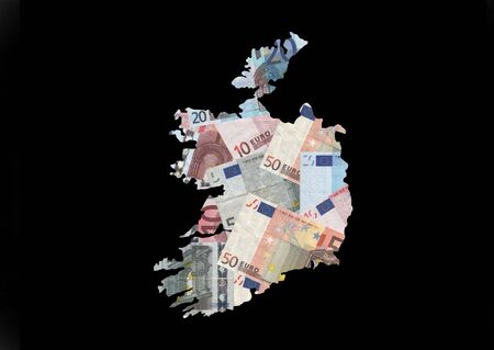 Map of Ireland with collage of colourful euro notes illustration illustration