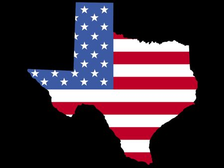 Map of the State of Texas with American flag