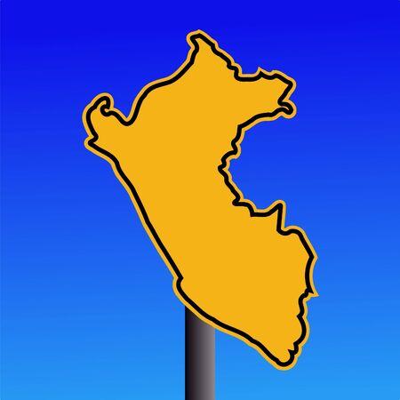 peru map: yellow Peru map warning sign on blue illustration