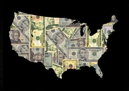 Map of USA with American dollars bills illustration illustration